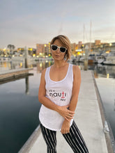 """it's a NAUTI thing"" Ladies' Adult Anchor Racerback Tank in White, Heather Grey or Black"