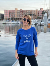 """NAUTI by nature"" Ladies' Adult Long Sleeve Sweater In Cream, Royal Blue or Navy"