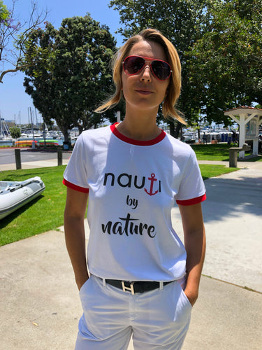 """NAUTI by Nature"" Anchor Ladies' Adult Ringer T-shirt with Red or Dark Navy accent"