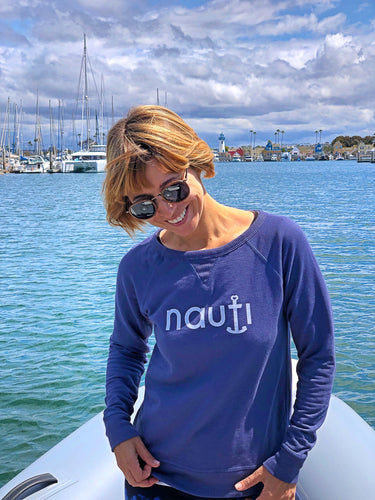 """NAUTI"" Anchor Ladies' lightweight sweater in Navy or Cream"