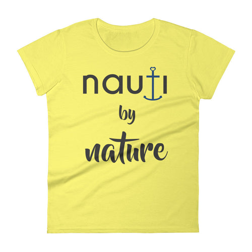 NAUTI by Nature Women's short sleeve t-shirt in Spring Yellow with Blue Anchor