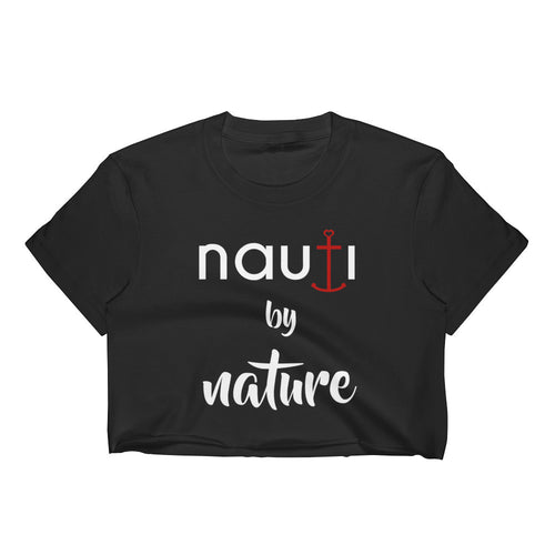 NAUTI by Nature Women's Crop Top in Black with Red Anchor