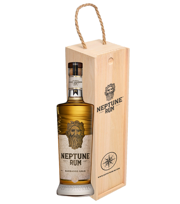 Neptune Rum Barbados Gold Wooden Gift Box 70cl