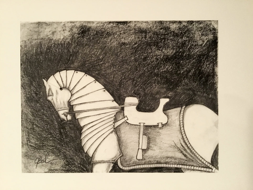 Armored War Horse Horse Feathers Art Illustration