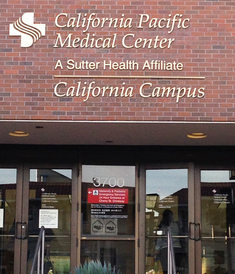 Front door of California Pacific Medical Center: A Sutter Health Affiliate - California Campus