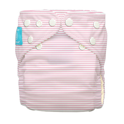 Diaper 2 Inserts Organic Pencil Stripes Pink One Size