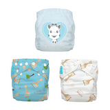 3 Diapers 6 Inserts Blue Sophie La Girafe One Size Hybrid AIO