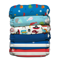 6 Diapers 12 Inserts Ocean Adventure One Size Hybrid AIO