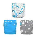 3 Diapers 6 Inserts Under the Stars One Size Hybrid AIO