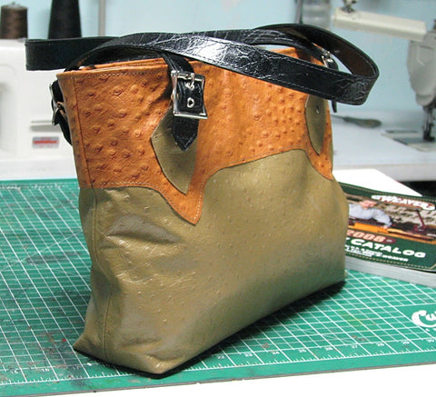 Completed Leather handbag, Studio Dayz blog post Sewlutionsbyamo