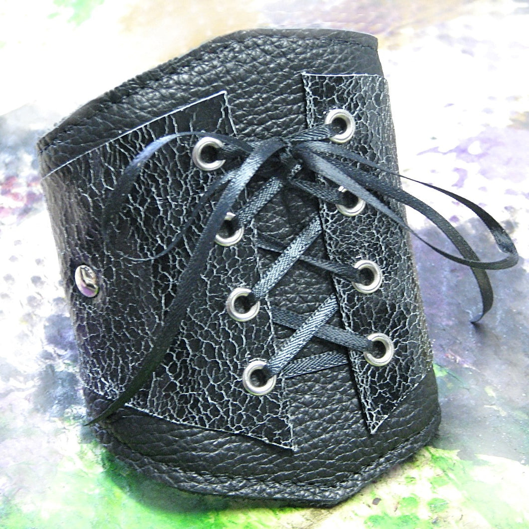 Women's Black Leather Corset Wrist Wallet Cuff For Cards with Secret Pocket - MADE to ORDER
