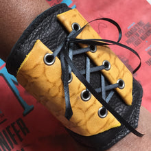 Women's Yellow Leather Corset Wrist Wallet Cuff for Cards with Secret Pocket
