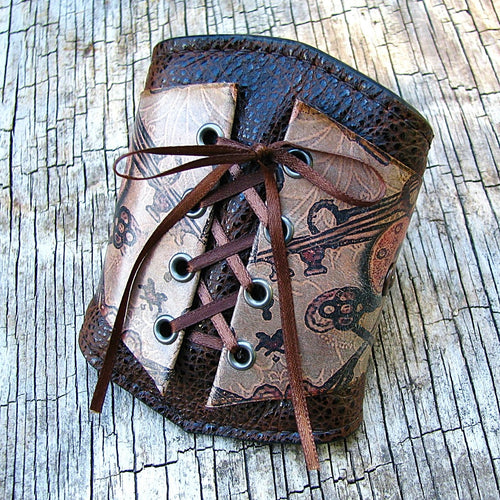 Women's Brown Leather Corset Wrist Wallet Cuff For Cards with Secret Pocket - Locks and Keys