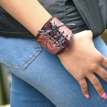 Womens Mahogany Leather Corset Wrist Wallet Cuff with Secret Pocket - Steampunk Gears