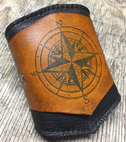 RESERVED for Julia - Leather Wrist Wallet with Compass Design