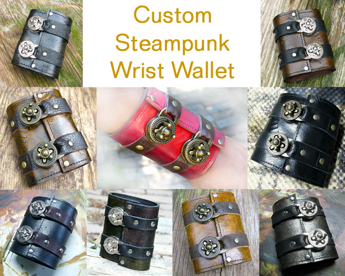 Unisex Leather Steampunk Wrist Wallet Cuff for Men, Women, Bikers or Travelers - Made To Order