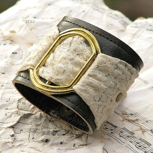 Women's Romantic Gothic Leather Wrist Wallet Cuff bracelet with Secret Pocket and Lace