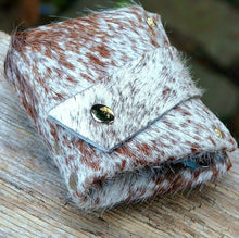 Brown & White Unisex Brindled Hair On Cow Hide Leather Snap Wallet - OOAK