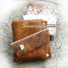 Brown Unisex Hair On Cow Hide Leather Snap Wallet - OOAK