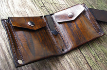 Men's Leather MonLeather Money Clip Bifold Wallet - Hand Stitched - Wood Grain Brown - MADE to ORDER