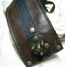Womens Steampunk Brown Leather Wrist Wallet Cuff with Secret Pocket - Conceal Your Cash!