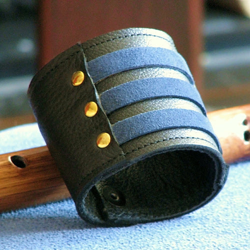 Unisex Blue Leather Wrist Wallet Cuff, Wristband Bracelet with Secret Pocket - Militant Band Leader