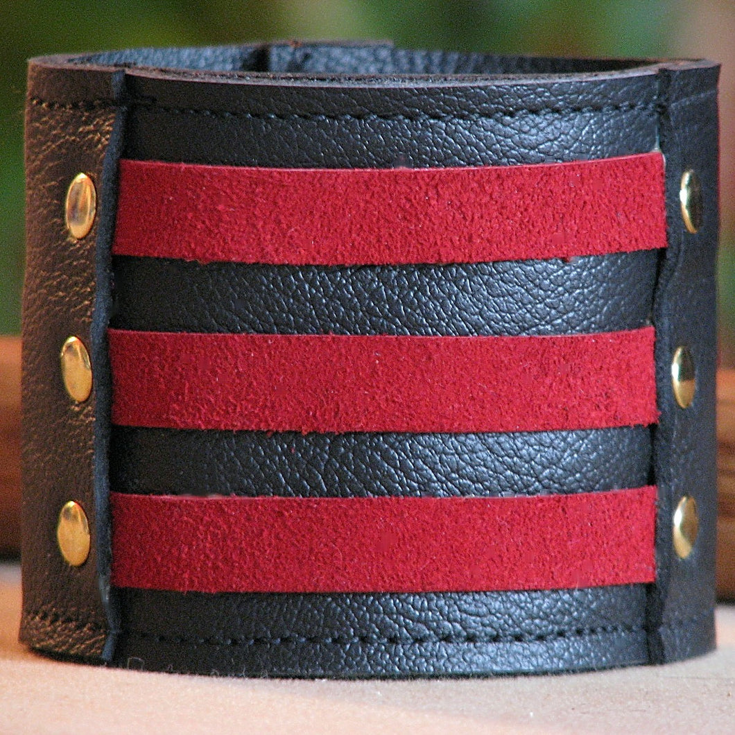 Unisex Red Leather Wrist Wallet Cuff, Wristband Bracelet with Secret Pocket - Militant Band Leader