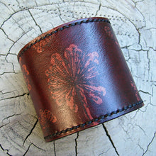 Women's Leather Wrist Wallet Bracelet Cuff with Secret Pocket, Dandelion Print - Made To Order