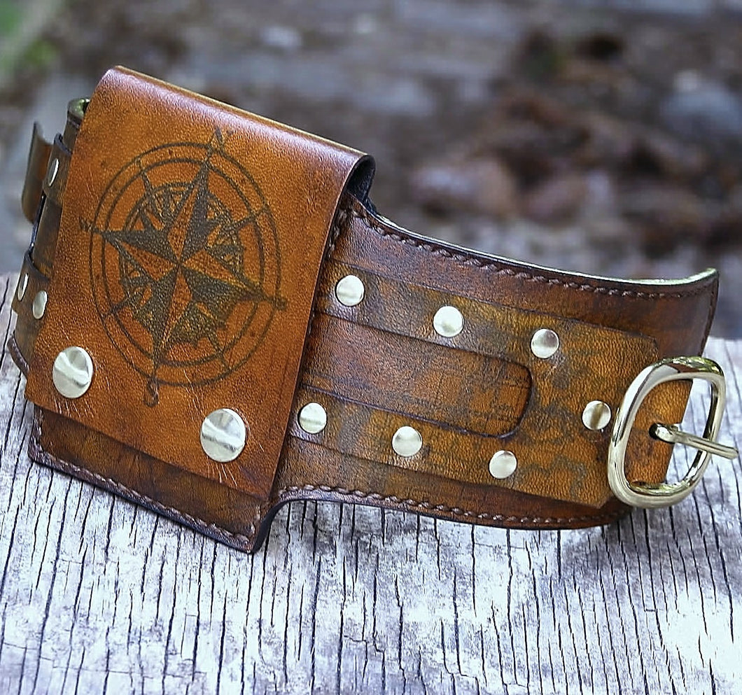 Brown Leather Wrist Wallet Cuff for Men, Women, Bikers Travelers with Secret Pocket