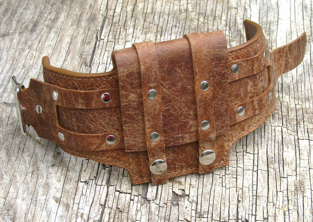 Rustic Brown Leather Wrist Wallet Cuff for bikers, travelers, Men & Women - MADE TO ORDER