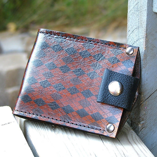 Mans Brown Leather billfold, bifold, Money Clip Snap Wallet - Argyle Print - Slim, Minimalist Argyle