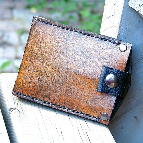 Men's Hand Stiched Brown Leather Snap Wallet - Bifold Money Clip - Map Print - MADE to ORDER