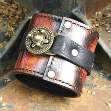 Steampunk Ikat Leather Wrist Wallet Bracelet Cuff for Men & Women that travel - Made to Order