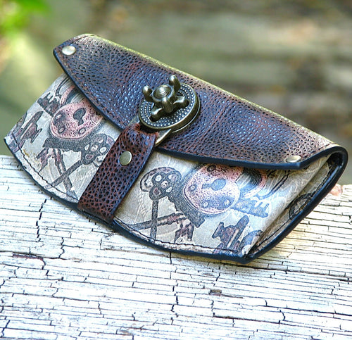 Womens Brown Leather Steampunk Wallet with Lock and Key Print - Made To Order