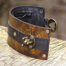 Steampunk Brown Leather Wrist Wallet Bracelet Cuff for Men & Women that travel - World Map Traveler