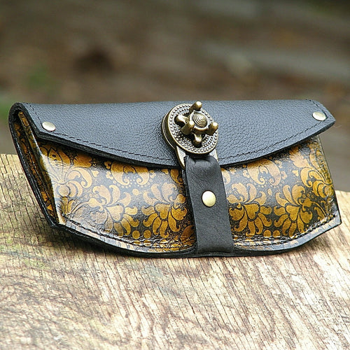 Women's Yellow Leather Wallet Purse - Baroque Steampunk with Antique Brass Hardware - Made To Order