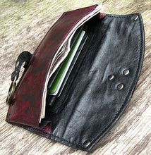 Women's Leather Zipper Wallet Purse - iphone case - Baroque Steampunk - MADE to ORDER