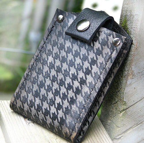 Men's Billfold Leather Wallet - Slim Jim Money Clip Wallet - Houndstooth Smoke Black