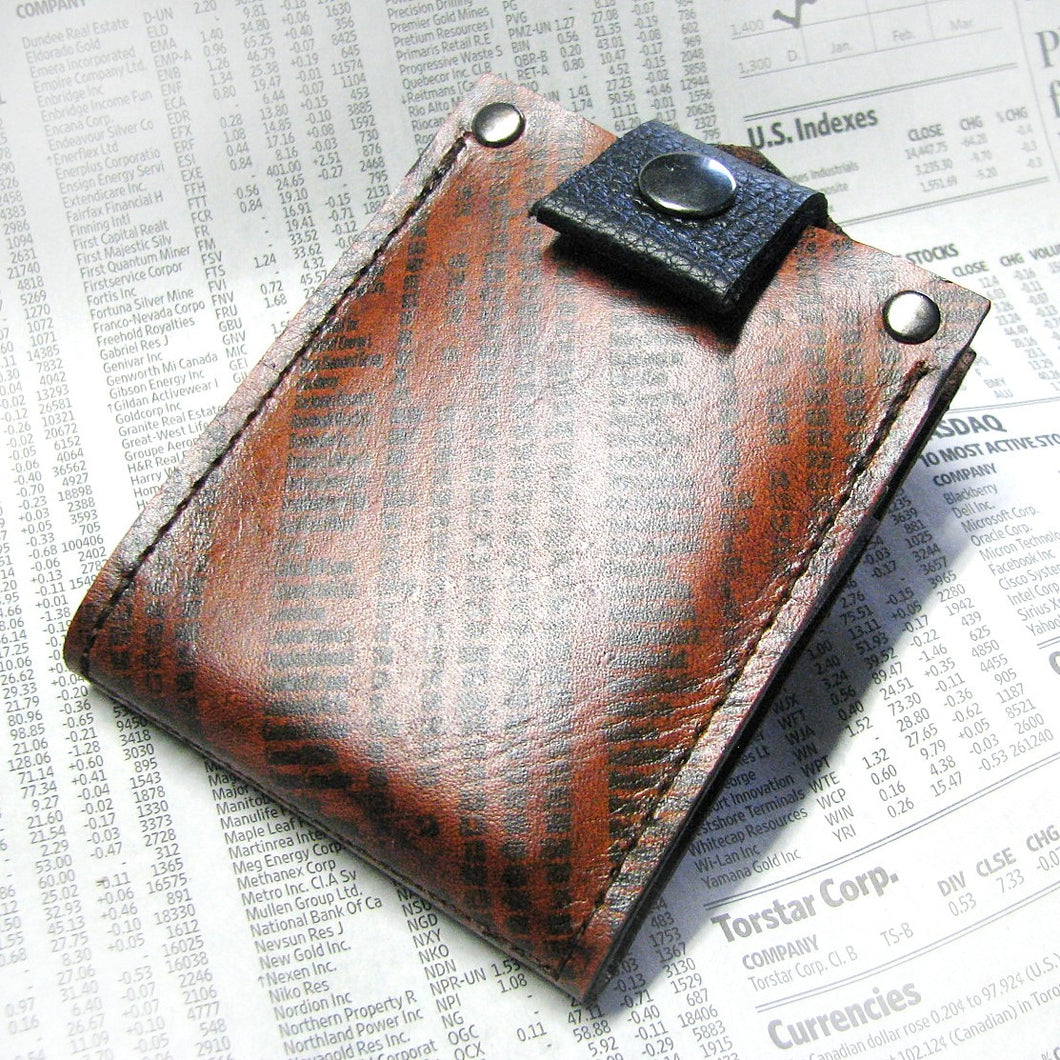 Men's Brown Leather Bifold Money Clip Snap Wallet Portefeuille - Minimalist Stocks & Bonds Print