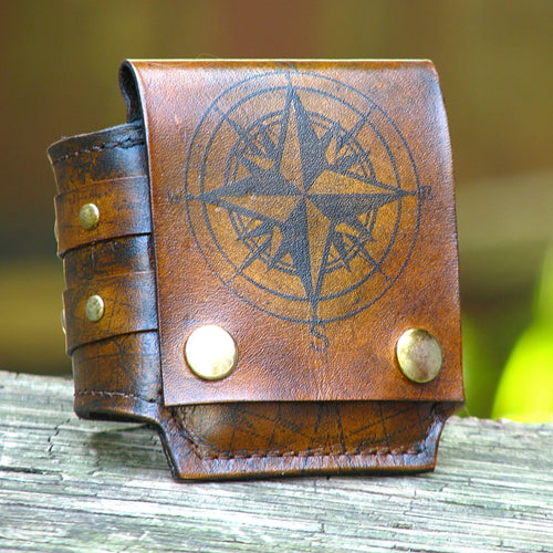 Brown Leather Wrist Wallet cuff