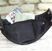 Brown Leather Wrist Purse with Secret Pocket - Worst Vegan Ever!