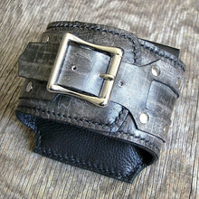 Black Leather Wrist Wallet Cuff for Men, Women, Bikers Travelers with Secret Pocket