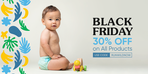 Baby sitting with wooden duck - Black Friday 30% off on all products RUNWILDNOW