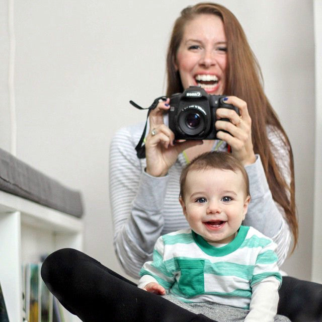 Noah and his mother with a camera