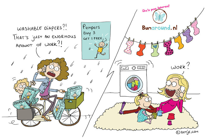 Betje carton about the ease of cloth diapering