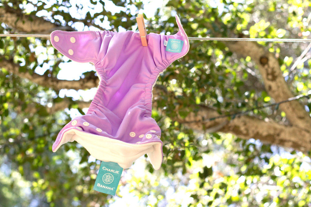 A Charlie Banana Reusable Clothdiaper hanging on a line to dry