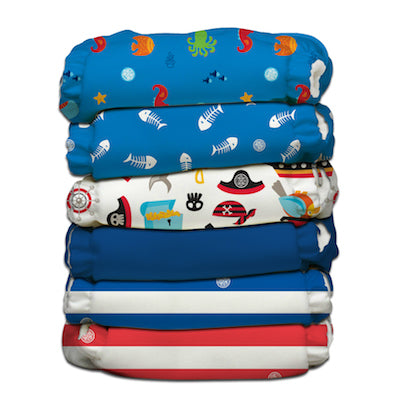 6 Diapers 12 Inserts Ocean Flair II One Size Hybrid AIO