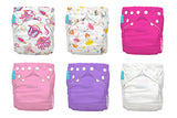 6 Diapers 12 Inserts Girly One Size Hybrid AIO