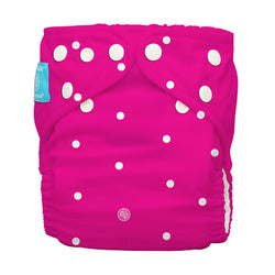 Diaper 2 Inserts White Polka Dots on Hot Pink One Size Hybrid AIO