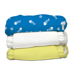 3 Diapers 6 Inserts Fish Sticks One Size
